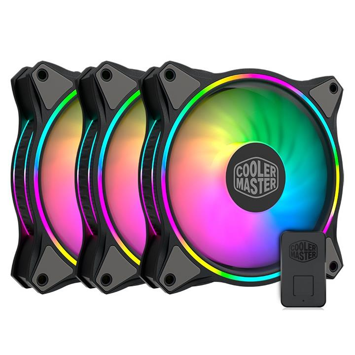 Image of Cooler Master Mf120 Halo Argb 120mm Case Fan - 3 Pack With Controller Mfl-b2dn-183pa-r1