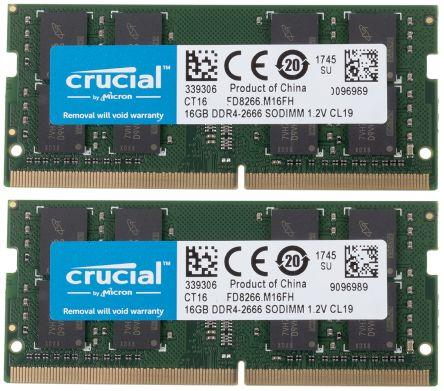 Image of Crucial 32gb Ddr4 2666 Mhz Sodimm Memory Module Kit (2 X 16gb) Ct2k16g4sfd8266
