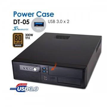 Image of Powercase Dt05 Slim Desktop With 2 X Usb3.0 Ports + Bonus Seasonic 300w Tfx Psu Bronze