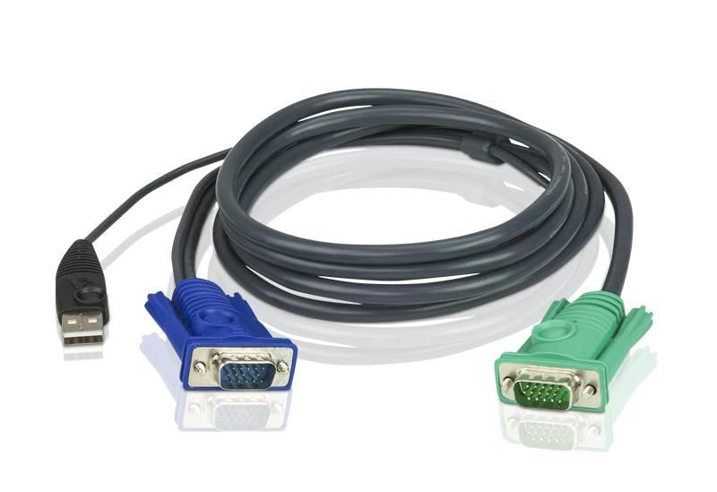 Image of Aten 2l-5202u Usb Kvm Cable With 3 In 1 Sphd - 1.8m