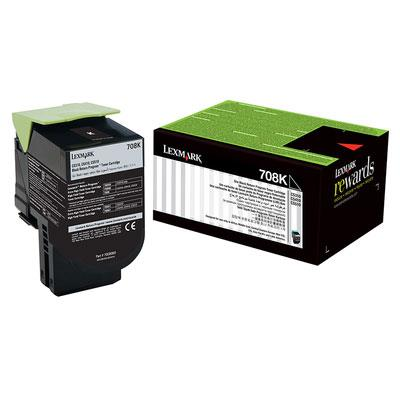 Image of Lexmark 708k Black Toner 1,000 Pages Black