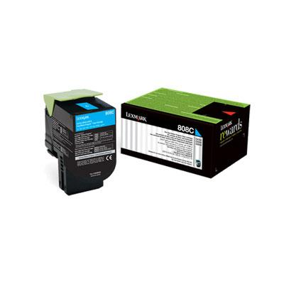 Image of Lexmark 808c Cyan Return Toner 1,000 Pages - For Cx310/410/510