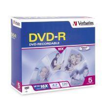 Image of Verbatim Dvd-r 4.7gb 5pk Jewel Case 16x