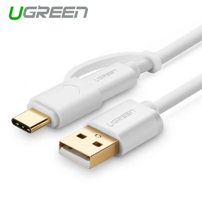 Image of Ugreen Usb 2.0 To Type C + Micro Usb Cable 1m White