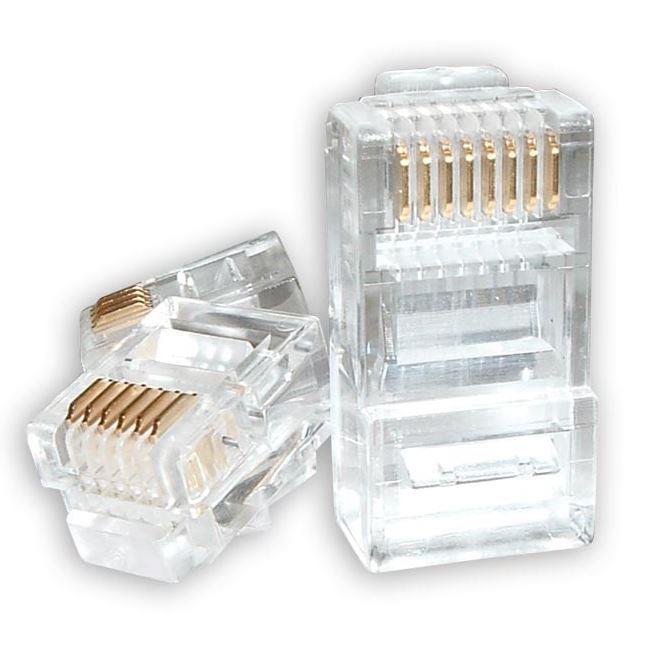Image of Astrotek Rj45 Connector Modular Plug Crimp 8p8c Cat5e Lan Network Ethernet Head 2 Prong Blade 3u'