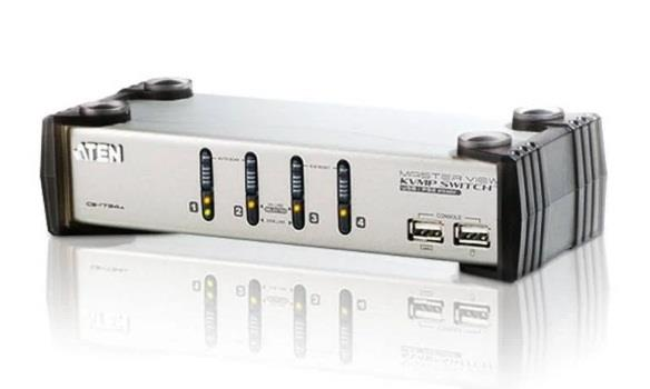 Image of Aten Cs1734ac-at 4 Port Usb Vga Kvmp Switch With Audio And Usb 1.1 Hub - Cables Included