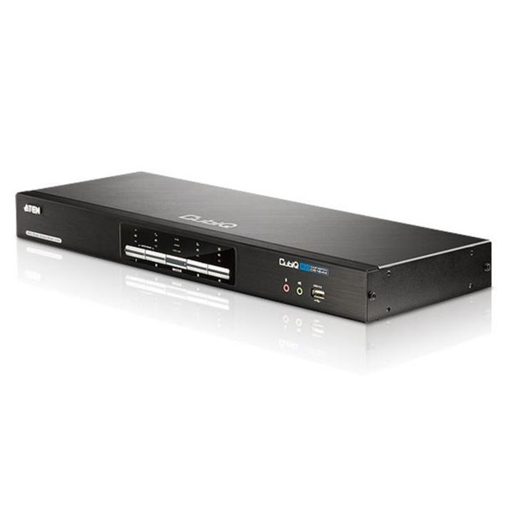 Image of Aten Desktop Kvmp Switch 4 Port Dual Display Dvi Dual Link W/ Audio, 2x Custom Kvm Cables Included, 2x Usb Port, Selection Via Front Panel