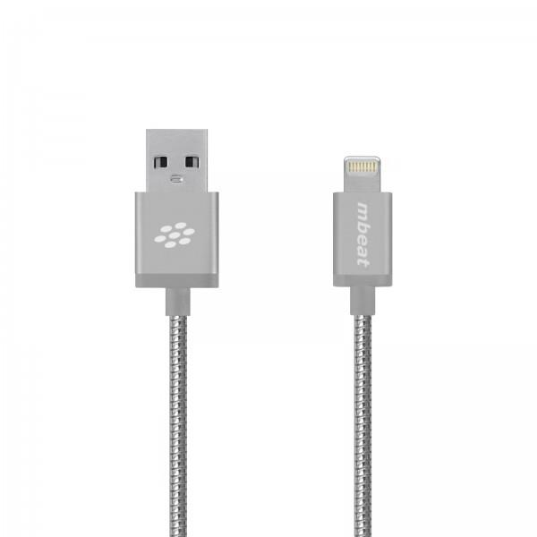 Image of Mbeat 'toughlink' Silver 1.2m Metal Braided Mfi Lightning Cable