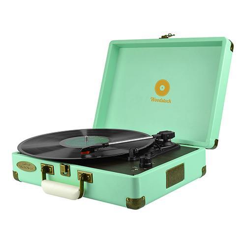 Image of Mbeat Woodstock Retro Turntable Player Tiiffany Blue