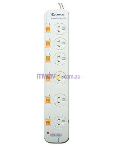 Image of Sansai Generic 6-way Power Board (661sw) With Individual Switches And Surge Protection