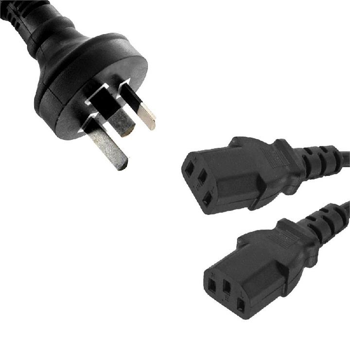 Image of 8ware Power Cable From 3-pin Au Male To 2 Iec C13 Female Plug In 3m