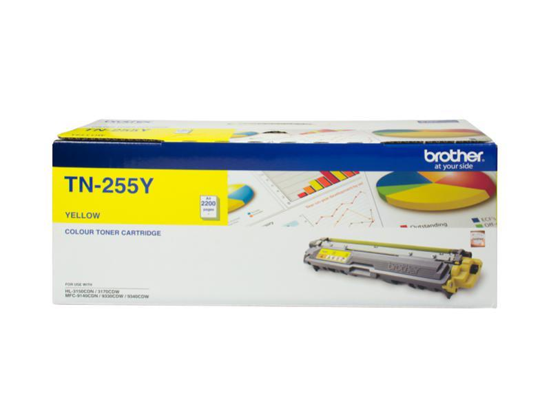 Image of Brother Tn-255y High Yield Yellow Toner - Up To 2,200 Pages