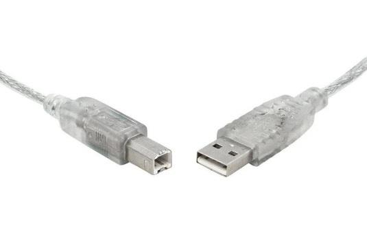 Image of 8ware Usb 2.0 Cable 0.5m (50cm) A To B Transparent Metal Sheath Ul Approved