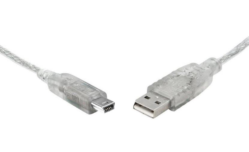 Image of 8ware Usb 2.0 Cable 3m A To B 5-pin Mini Transparent Metal Sheath Ul Approved