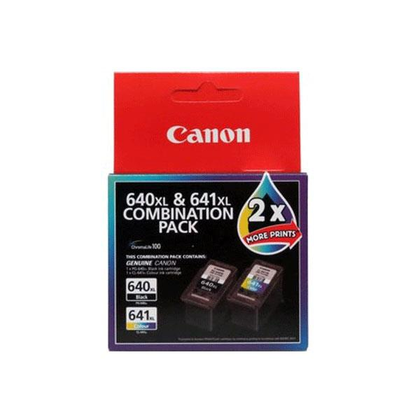Image of Canon Pg640xlcl641xl Combo Pack Ink: 1x Pg-640xl Black, 1 X Cl-641xl Colour Ink