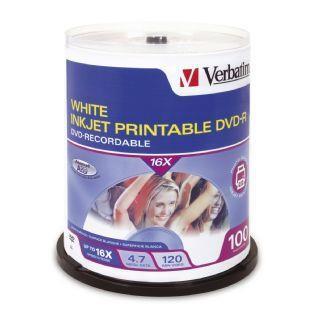 Verbatim 95153 Dvd-R 4.7Gb 16X White Inkjet 100Pk Spindle