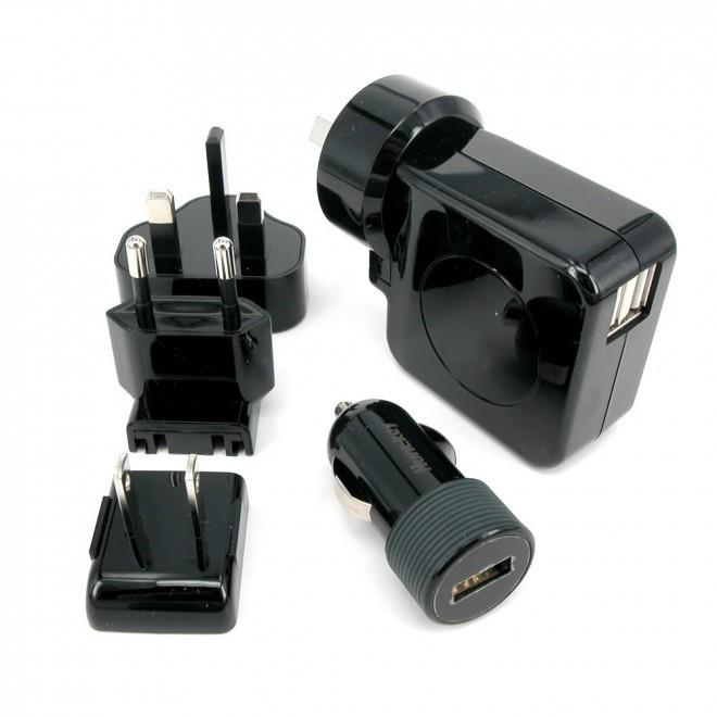 Image of Huntkey Travelmate Multi Plugs Usb Wall Charger Adapter 4.2 A Us Uk Eu Au Plugs Car Charger