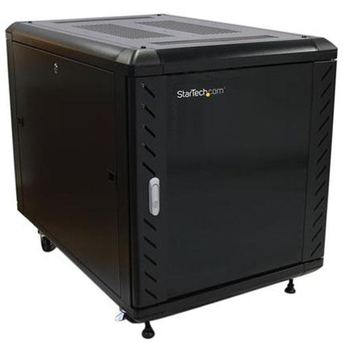 Image of Startech Rk1236bkf 12u 36in Knock-down Server Rack Cabinet With Casters