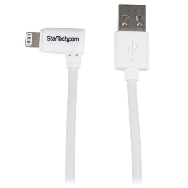 Image of Startech Angled Lightning To Usb Cable - 2m (6ft) - White