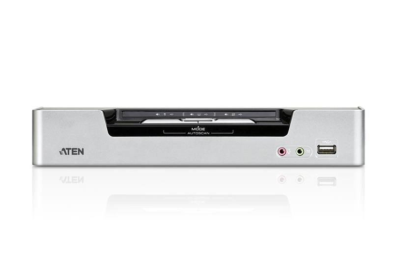 Image of Aten Cs1642a-at-u Desktop Kvmp Switch 2 Port Dual Display Dvi Dual Link W/ Audio, 2x Custom Kvm Cables Included