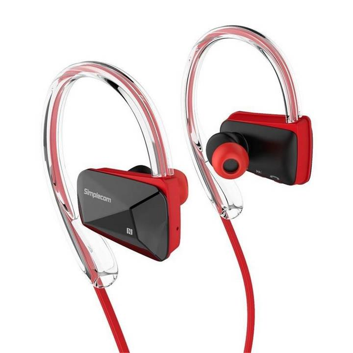 Image of Simplecom Ns200 Bluetooth Neckband Sports Headphones With Nfc Red