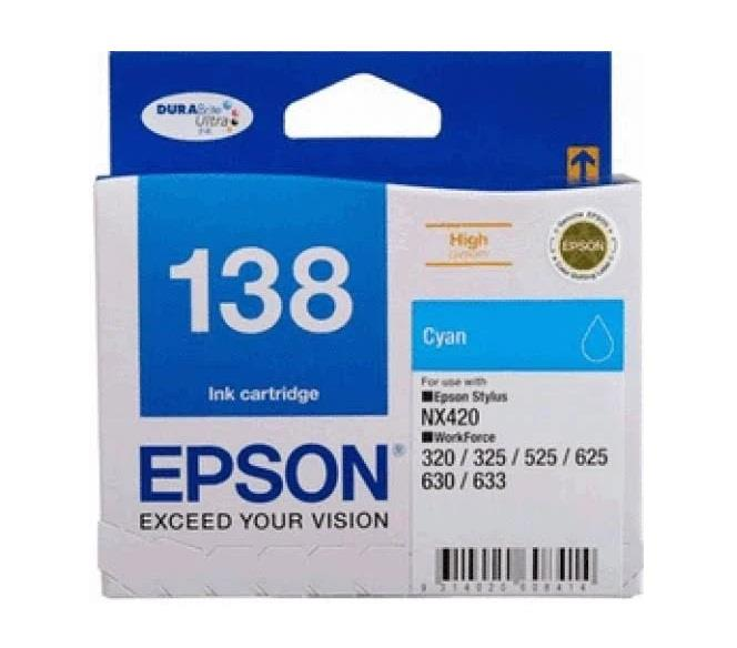 Image of Epson 138 Cyan Ink Cart 420 Pages Cyan