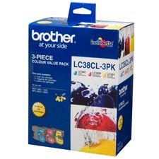 Image of Brother Lc38 3 Colour Value Pk 1 X Cyan, 1x Magenta, 1 Yellow