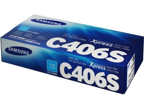 Image of Samsung Clt-c406s Cyan Toner Cartridge Genuine