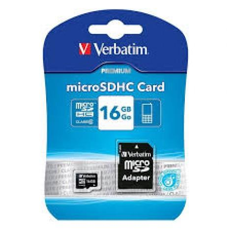 Image of Verbatim Micro Sdhc 16gb (class 10) With Adaptor Up To 45mb/sec 300x Read Speed