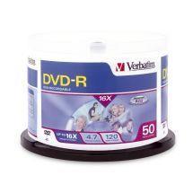 Image of Verbatim Dvd-r 4.7gb 50 Pack Spindle 16x (95101)