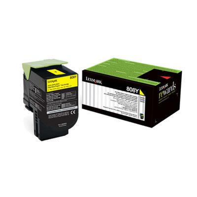 Image of Lexmark 808y Yellow Toner 1,000 Pages Yellow