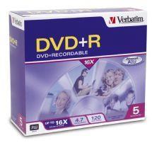 Image of Verbatim Dvd+r 4.7gb Jewel Case 5 Pack 16x (95049)