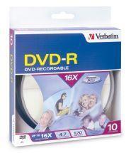 Image of Verbatim Dvd-r 4.7gb 10 Pack Spindle 16x (95100)