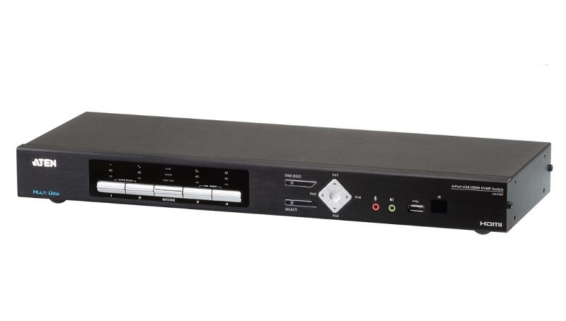 Image of Aten Cm1284-at-u 4-port 4k Hdmi Multi-view Kvmp Switch Cables Included