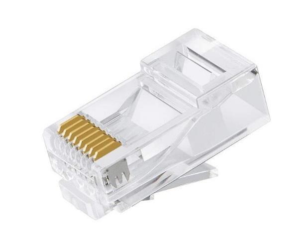 Image of Astrotek Cat6 Utp -rj45 Connector 8p8c Network Plug 3 Prong Blade Gold Plating