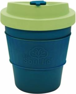 EcoSouLife All Natural BioSip Coffee Cup Turq/LghtLime 350ml