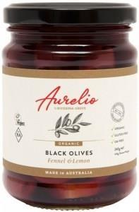 Aurelio Organic Black Olives Fennel & Lemon G/F 240g