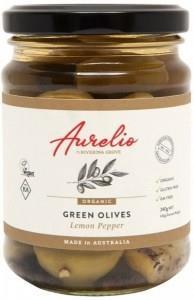Aurelio Organic Green Olives Lemon Pepper G/F 240g