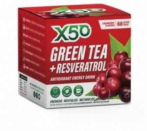 X50 Green Tea + Resveratol Cranberry G/F 60 x 3g Sachets