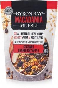 Byron Bay Macadamia Muesli Granola Coconut, Cranberry & Apple 400g