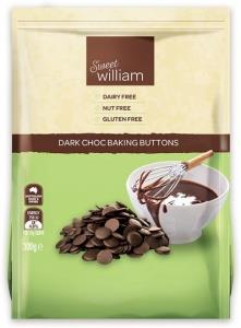Sweet William Dark Choc Baking Buttons G/F 300g