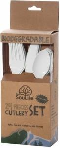 EcoSouLife Cornstarch 24Pc Cutlery Set Natural
