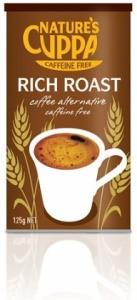 Natures Cuppa Caffeine Free Coffee Alt Powder Rich Roast 125gm