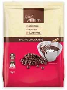 Sweet William Baking Chocolate Chips G/F 150g