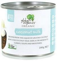 Global Organics Organic Coconut Milk G/F 200g Can