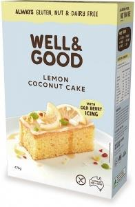 Well And Good Lemon Coconut Cake Mix & Gojiberry Icing G/F 475g
