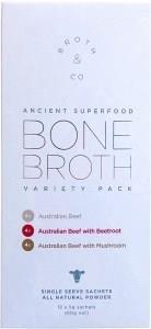 Broth & Co Grass Fed Beef Bone Broth Variety Pack 5g Sachets (Box of 12) 60g