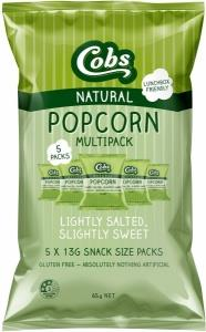 Cobs Natural Popcorn Multipack Lightly Salted, Slightly Sweet G/F (5Pk) 10x65g