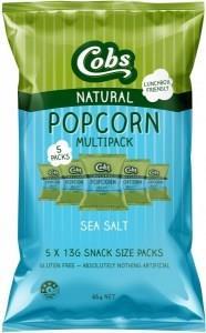 Cobs Natural Popcorn Multipack Sea Salt G/F (5Pk) 10x65g