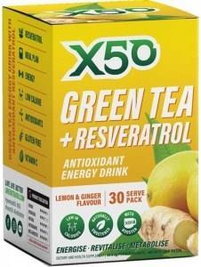 X50 Green Tea + Resveratol Lemon & Ginger 30 Sachets